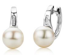 Damen-Ohrringe  375 Weißgold mit 6 Brillanten 0,04ct und Perlen MG9008E