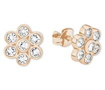 Damen-Ohrstecker Swarovski Elements Blume Blüte Messing teilvergoldet Kristall weiß - 566094