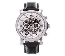 Automatik Armbanduhr von  für Männer mit einem echten Diamanten mit Weißem Zifferblatt Analoger Anzeige und Schwarzem Armband aus Leder SK14H039