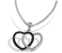 Damen-Halskette 925 Sterlingsilber weiße u. schwarze Zirkonia Kettenanhänger Schmuck