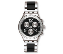 Swatch Damen-Armbanduhr Touch Secret Thought Black Chronograph Quarz verschiedene Materialien YCS551G