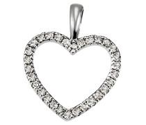 Damen-Herzanhänger aus 585 Weißgold mit 30 Diamanten 0.16ct Brillianten Kettenanhänger