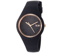 - ICE glam Black Rose-Gold - Schwarze Damenuhr mit Silikonarmband - 000979 (Small)