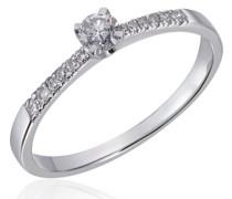 Damen-Ring Princess 585 Weißgold 13 Diamanten 0,25 ct.