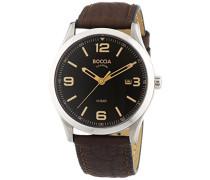 Herren-Armbanduhr XL Analog Quarz Leder 3583-01