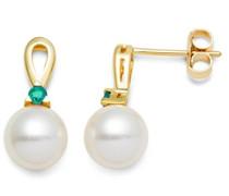 Damen-Ohrringe 9 Karat (375) Gelbgold weiße Süßwasser-Zuchtperlen und Smaragd
