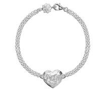 Cherish Silver Armband zweireihig, 18,5cm, mit flachem Herzelement, gravierbarer