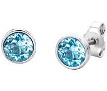 Damen Ohrstecker / Elegante Ohrringe aus 925 Sterling Silber mit traumhaftem Swarovski-Element in Blau / Damenschmuck modern Ø 6,5 mm