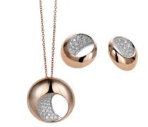 Damen-Set: Halskette + Ohrringe 925 Sterling Silber Zirkonia wei SET-5210