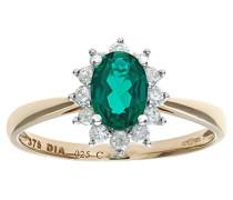 Damen-Ring 375 Weißgold 9 K Smaragdschliff grün 0,25 ct PR10470Y EM-P