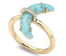 14 k (585)  Gelbgold Halbmondschliff   blau Diamant