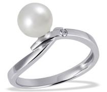 Damen-Ring Süßwasserperle 375 Weißgold 1 Brillant 0,03 ct.