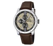Herren-Armbanduhr XL Sport Multifunktion Analog Quarz Leder F16585/6