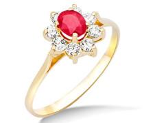 Damen-Ring 9 Karat (375) Gelbgold Rubin und Zirconia, Größe 52