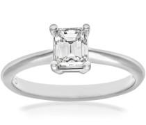 Damen-Verlobungsring 18 K Weißgold 4 Claw Gallery G/VS1 EGL Brillant Smaragdschliff 0,56 ct