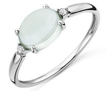 Damen-Ring 375 Weißgold rhodiniert Amethyst grün Ovalschliff Diamant (0.02 ct)