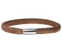 Damen Armband Edelstahl Magentverschluss Leder 18 cm braun 12105-18