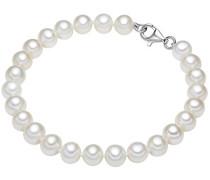 Damen-Armband Hochwertige Süßwasser-Zuchtperlen in ca. 7 mm Oval weiß 925 Sterling Silber in verschiedenen Länge - Perlenarmband mit echten Perlen weiss 60201420