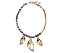 -    Messing Rundschliff  China-Zuchtperle schwarz Perle Verre