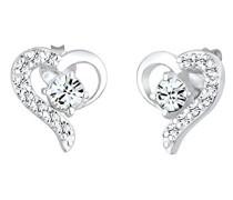 Damen Ohrringe Herz Liebe Freundschaft Liebesbeweis 925 Sterling Silber Swarovski Kristallesilber