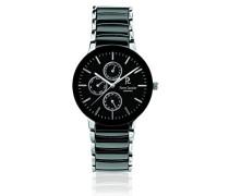 Herren-Armbanduhr Ceramique Analog Quarz Schwarz 211G439