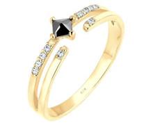 Damen-Ring Microsetting 925 Silber Zirkonia gold Prinzess