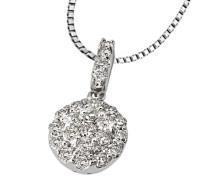Damen-Halskette 18 Karat 750 Weißgold Glamourfassung 23 Diamanten 0,5 ct. 45 cm Kettenanhänger Brillanten Schmuck Diamantkette