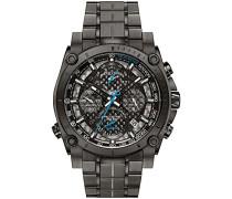 Precisionist 98G229 - Herren Designer-Armbanduhr - Chronograph mit Armband aus Edelstahl - Grau mit blauen Zeigern