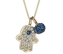 Damen-Kette mit Anhänger Hamsa Hand Fatima 925 Silber Swarovski Kristall blau Rundschliff 45 cm