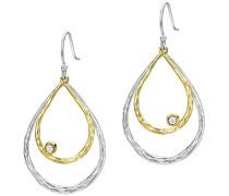 Ohrhänger / Ohrringer doppelter Tautropfen / Träne aus Silber und Gelbgold mit weißem Topas