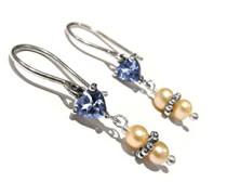 Ohrhänger, aus Sterling-Silber und Cubic Zirkonia, Blau mit 2 Süßwasserperlen Ohrringe