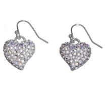Guess Damen-Ohrringe Silberfarben Rhodiniert mit Weißen Schmucksteinchen UBE81174