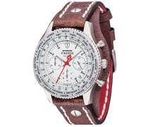Herren-Armbanduhr Firenze Retro Chronograph mit silbernem Edelstahl-Gehäuse, Lederarmband und breitem Unterlegband.  Herren-Uhr mit drehbarer Lünette und Stoppuhrfunktion.