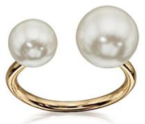 Costume Damen-Doppel Pearl Offene Ring–Größe M