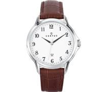 –610882–Armbanduhr–Quarz Analog–Weißes Ziffernblatt–Armband Leder braun