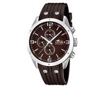 Lotus Herren Quarz-Uhr mit Braun Zifferblatt Chronograph-Anzeige und braun rubber Strap 15969/3