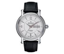 1160.2532Herren Schweizer Automatik Uhr mit weißem Zifferblatt Analog-Anzeige und schwarz Lederband