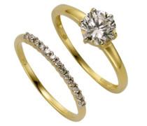 Damen-Ring 9 Karat (375) Bicolor teilrhodiniert Zirkonia weiß