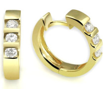 Gelb Gold 585 Memoire Creolen 6 Diamanten 0,40 ct., Me O538GG Ohrringe Brillanten Schmuck