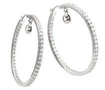 Damen-Creolen 925 Sterling Silber Zirkonia Classic Linie weiß 62/1411/1/082