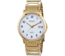 Herren-Armbanduhr XL Analog Quarz Edelstahl beschichtet 11140127