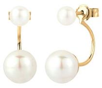 Damen Ohrhänger Front-Back Doppelohrstecker 925 Sterling Silber Süßwasserzuchtperle gold