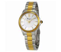 Salvatore Ferragamo Time Damen Quarzuhr mit blauem Zifferblatt und Zwei-Ton-Armband FFV050016