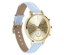New Look Lucy Damen Quarzuhr mit Gold Zifferblatt Analog-Anzeige und Blau Lederimitat-Riemen 3607383-g
