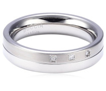 Damen-Ring teilpoliert Titan 3 Brillianten GR.61 0129-0361