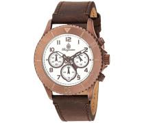 Armbanduhr für Damen mit Analog Anzeige, Chronograph und Lederarmband - Wasserdichte Damenuhr mit zeitlosem, schickem Design - klassische, elegante Uhr für Frauen - BM532-015-1 Vintage