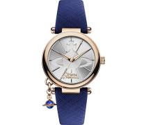 Damen-Armbanduhr Orb Pop Analog Quarz mit Silber Zifferblatt und Blau Lederband vv006rsbl