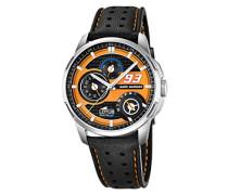 Lotus Marc Marquez Kollektion 2015Herren Armbanduhr Quarz mit Orange Zifferblatt Analog-Anzeige und schwarz Lederband Scheiben-Abdeckung/3