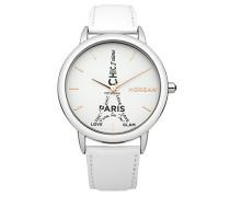 –m1232W Damen-Armbanduhr–Quarz Analog–Weißes Ziffernblatt–Armband Leder Weiß