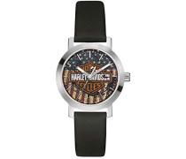 Harley Davidson Damen Quarzuhr mit Zifferblatt Analog-Anzeige- und Schwarz Lederband 76l174